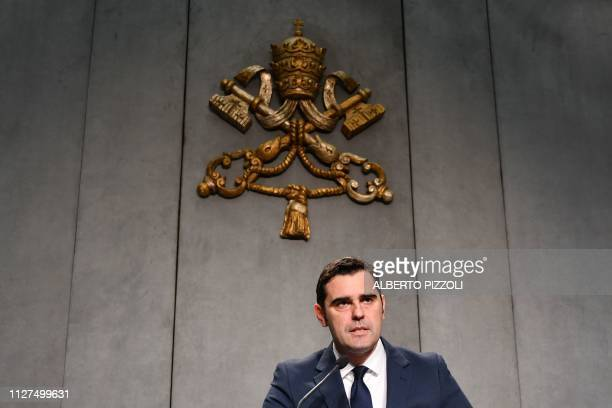 Interim Director of the Holy See Press Office Alessandro Gisotti reads a statement on the sentence in the first instance against Australian Cardinal...