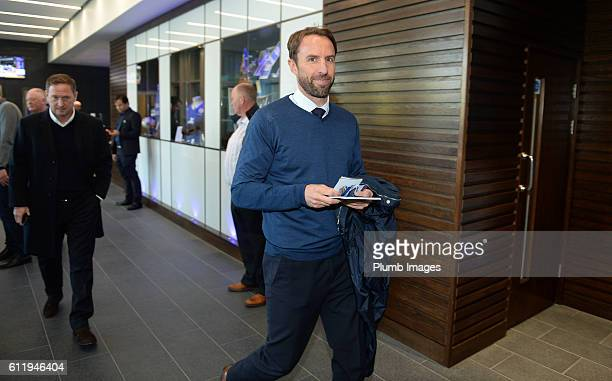 Interim England manager Gareth Southgate arrives at King Power Stadium ahead of the Barclays Premier League match between Leicester City and...