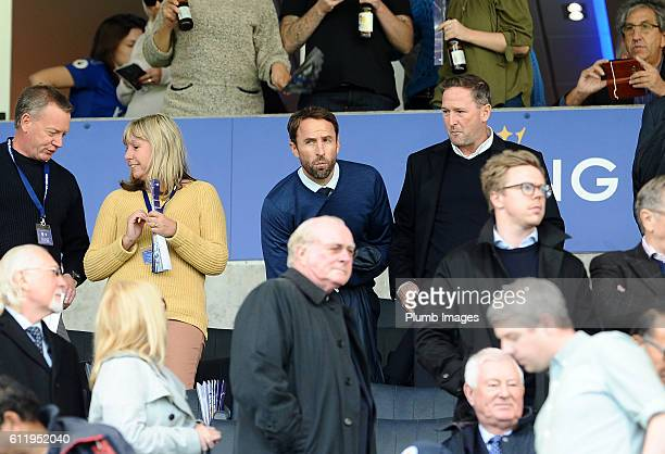 Interim England Manager Gareth Southgate at King Power Stadium ahead of the Barclays Premier League match between Leicester City and Southampton at...
