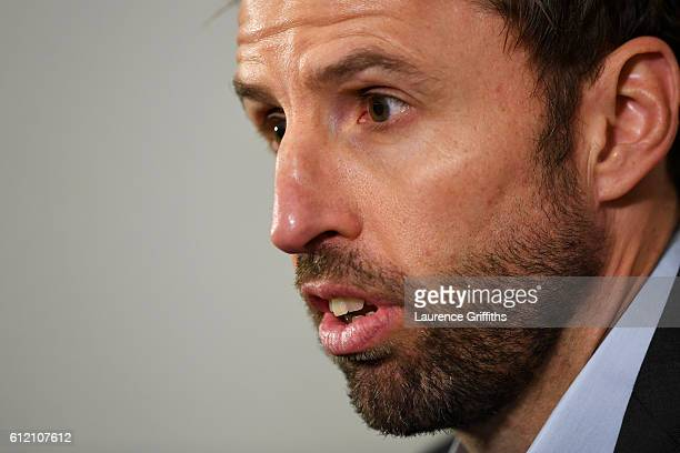Interim England manager Gareth Southgate speaks during an England press conference at St George's Park on October 3 2016 in BurtonuponTrent England