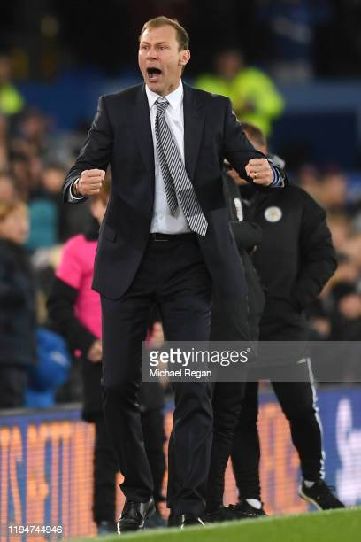 Interim Everton Manager Duncan Ferguson celebrates his sides first goal scored by Tom Davies during the Carabao Cup Quarter Final match between...
