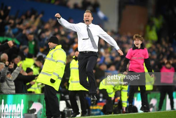Interim Everton Manager Duncan Ferguson celebrates his sides second goal during the Carabao Cup Quarter Final match between Everton FC and Leicester...