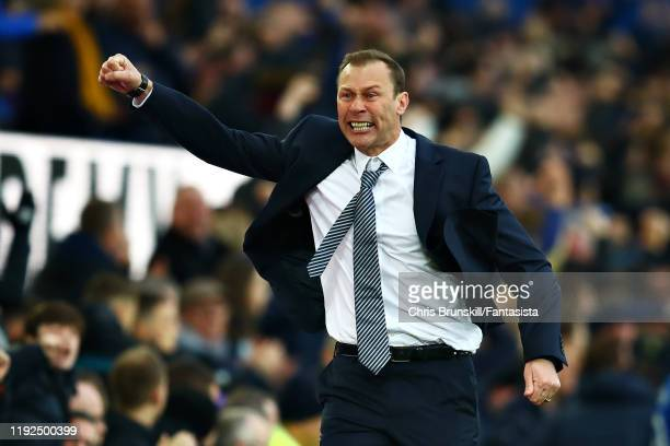 Interim Everton Manager Duncan Ferguson celebrates his sides third goal during the Premier League match between Everton FC and Chelsea FC at Goodison...