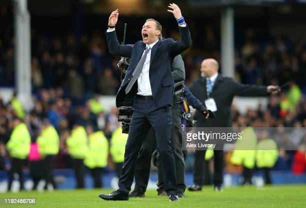 Interim Everton Manager Duncan Ferguson celebrates victory following the Premier League match between Everton FC and Chelsea FC at Goodison Park on...