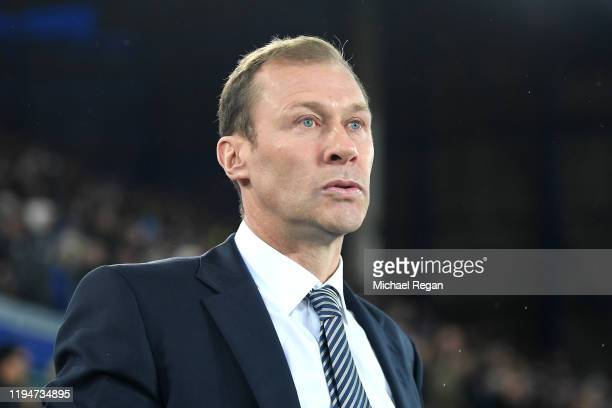 Interim Everton Manager Duncan Ferguson looks on prior to the Carabao Cup Quarter Final match between Everton FC and Leicester FC at Goodison Park on...