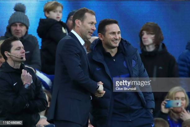 Interim Everton Manager Duncan Ferguson shakes hands with Frank Lampard Manager of Chelsea following the Premier League match between Everton FC and...
