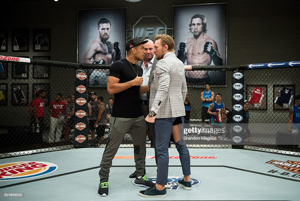 UFC interim featherweight champion Conor McGregor and UFC featherweight Champion Jose Aldo face off during the filming of The Ultimate Fighter: Team McGregor vs Team Faber at the UFC TUF Gym on August 26, 2015 in Las Vegas, Nevada.