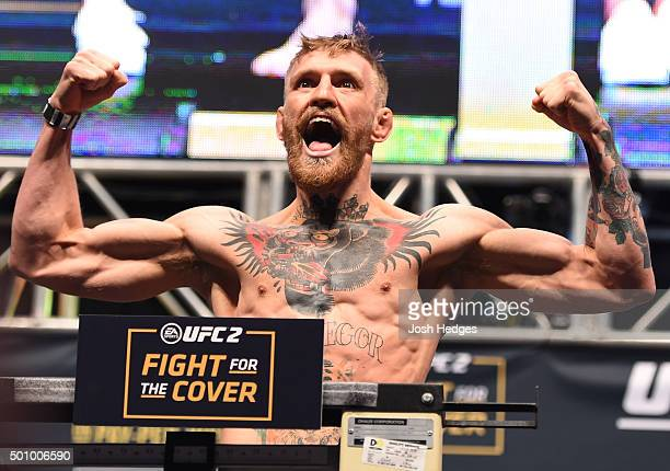 Interim featherweight champion Conor McGregor of Ireland weighs in during the UFC 194 weigh-in inside MGM Grand Garden Arena on December 10, 2015 in...