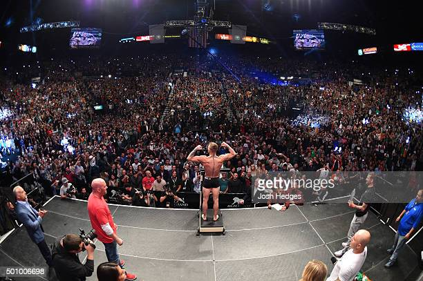 UFC interim featherweight champion Conor McGregor of Ireland weighs in during the UFC 194 weighin inside MGM Grand Garden Arena on December 10 2015...