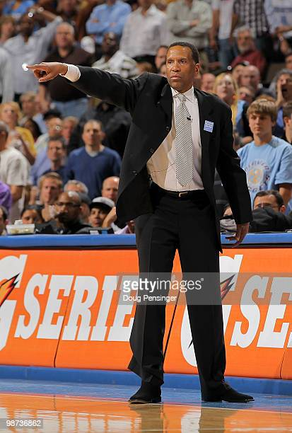 Interim head coach Adrian Dantley of the Denver Nuggets leads his team against the Utah Jazz in Game Five of the Western Conference Quarterfinals of...