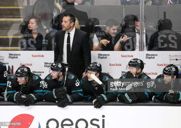 Interim head coach Bob Boughner of the San Jose Sharks coaches in his first game against the New York Rangers at SAP Center on December 12, 2019 in...