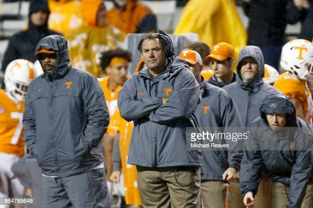 Interim head coach Brady Hoke of the Tennessee Volunteers looks on against the LSU Tigers at Neyland Stadium on November 18 2017 in Knoxville...