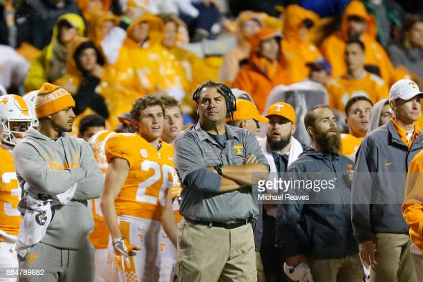 Interim head coach Brady Hoke of the Tennessee Volunteers looks on from the sideline against the LSU Tigers at Neyland Stadium on November 18 2017 in...