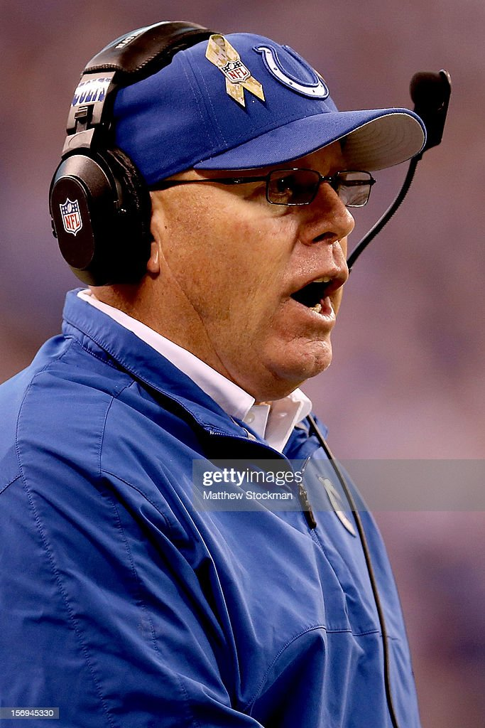 Interim head coach Bruce Arians of the Indianapolis Colts watches from the sidelines as his team plays the Buffalo Bills at Lucas Oil Stadium on November 25, 2012 in Indianapolis, Indiana.