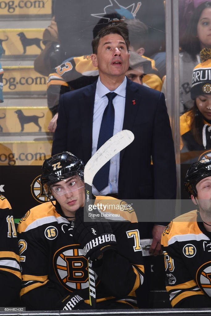 Interim Head Coach Bruce Cassidy of the Boston Bruins looks up at the jumbo tron during the game against the San Jose Sharks at the TD Garden on February 9, 2017 in Boston, Massachusetts.