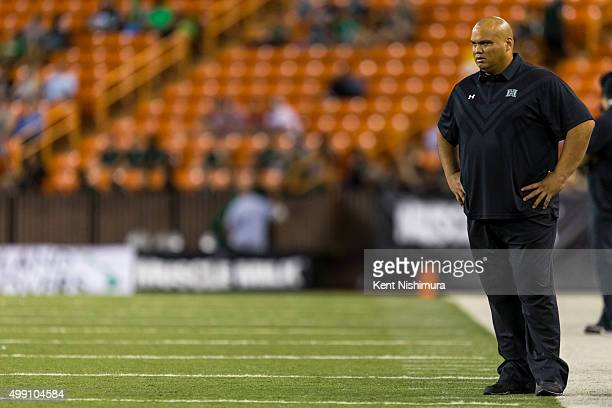 Interim head coach Chris Naeole of the Hawaii Warriors during the first half of a college football game at Aloha Stadium on November 28 2015 in...