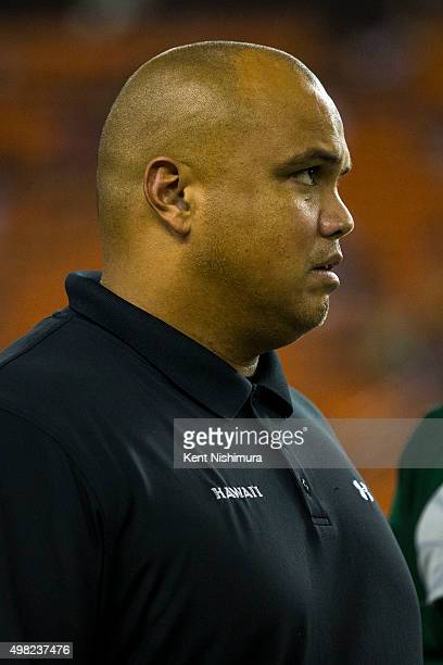 Interim head coach Chris Naeole of the Hawaii Warriors is seen on the sidelines during the second half of a college football game at Aloha Stadium on...