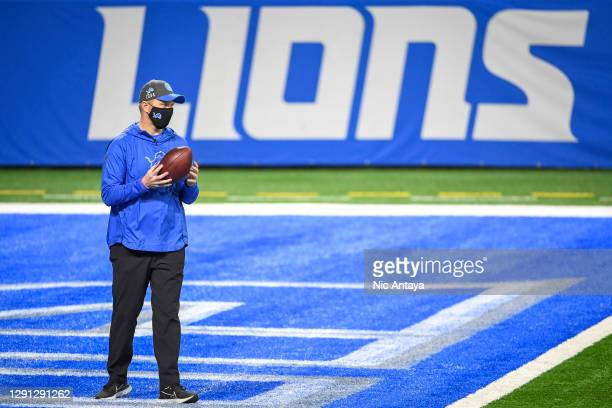 Interim head coach Darrell Bevell of the Detroit Lions looks on before the first half at Ford Field on December 13, 2020 in Detroit, Michigan.