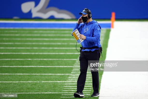Interim head coach Darrell Bevell of the Detroit Lions stands on the sideline during the first half against the Green Bay Packers at Ford Field on...