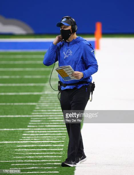 Interim head coach Darrell Bevell of the Detroit Lions stands on the sideline during the second half against the Green Bay Packers at Ford Field on...