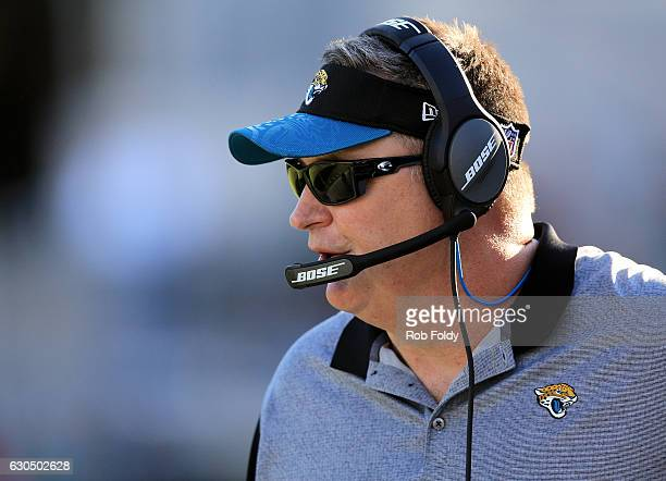 Interim head coach Doug Marrone of the Jacksonville Jaguars during the game against the Tennessee Titans at EverBank Field on December 24 2016 in...