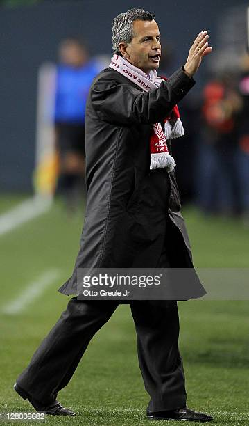 Interim head coach Frank Klopas of the Chicago Fire gestures to the bench during the 2011 Lamar Hunt US Open Cup Final against the Seattle Sounders...