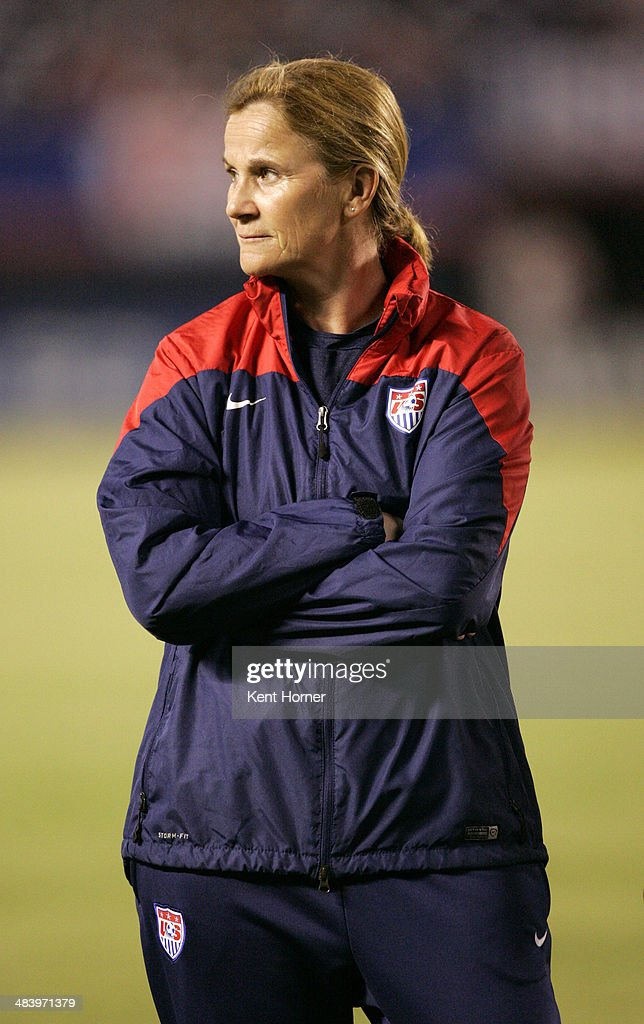 Interim head coach Jill Ellis of the United States stands near the bench prior to the game against China during an international firendly match at Qualcomm Stadium on April 10, 2014 in San Diego, California.
