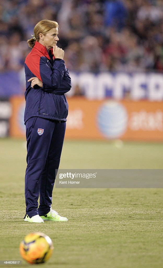 Interim head coach Jill Ellis of the United States watches players during pre-game drills prior to the game against China during an international firendly match at Qualcomm Stadium on April 10, 2014 in San Diego, California.