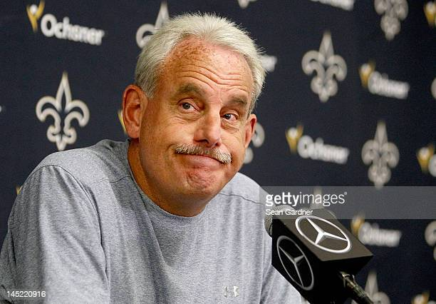 Interim head coach Joe Vitt of the New Orleans Saints answers question by the media after OTA's at the Saints Practice Facility on May 24, 2012 in...
