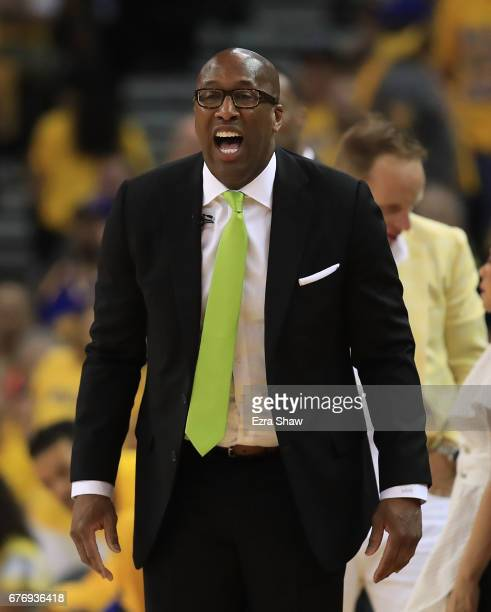 Interim Head Coach Mike Brown of the Golden State Warriors reacts against the Utah Jazz during Game One of the NBA Western Conference SemiFinals at...