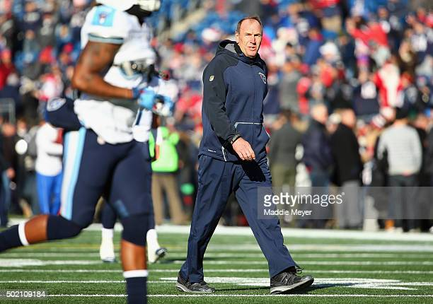 Interim head coach Mike Mularkey of the Tennessee Titans looks on prior to the game against the New England Patriots at Gillette Stadium on December...