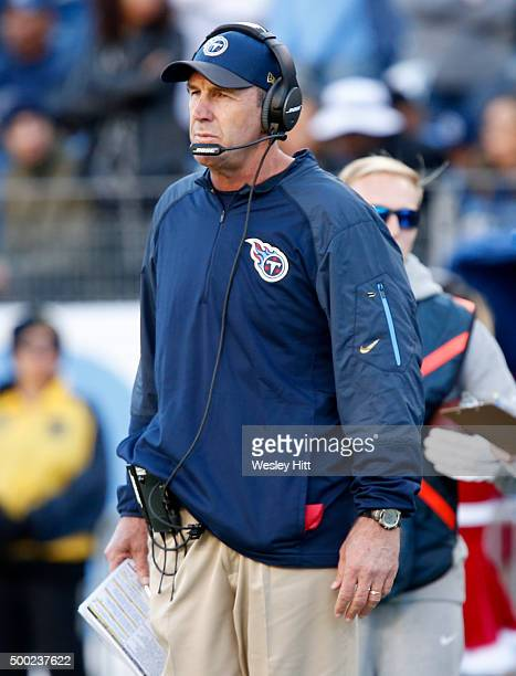 Interim head coach Mike Mularkey of the Tennessee Titans watches the action during the game against the Jacksonville Jaguars at Nissan Stadium on...