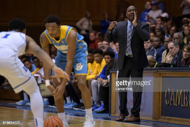 Interim head coach Morris Scott of the Southern Jaguars directs his team against the Duke Blue Devils at Cameron Indoor Stadium on November 17 2017...