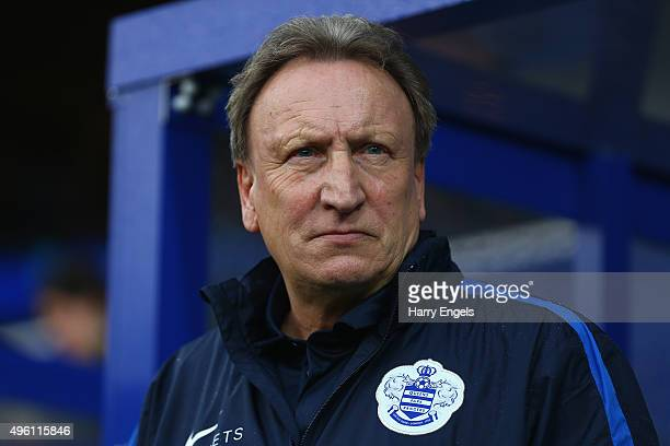 Interim Head Coach Neil Warnock looks on before kick off during the Sky Bet Championship match between Queens Park Rangers and Preston North End at...