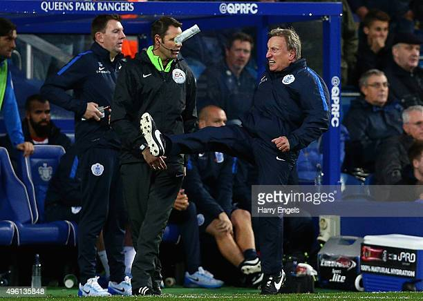 Interim Head Coach Neil Warnock reacts angrily on the sidelines during the Sky Bet Championship match between Queens Park Rangers and Preston North...
