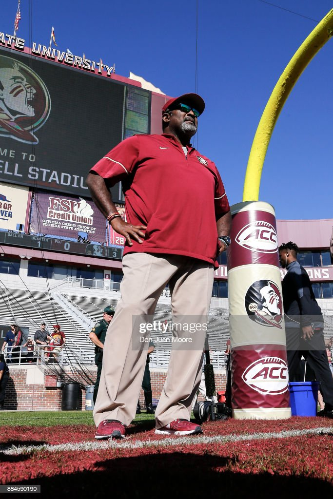 Interim Head Coach Odell Haggins of the Florida State Seminoles during pre-game warm ups before playing against the Louisiana Monroe Warhawks at Doak Campbell Stadium on Bobby Bowden Field on December 2, 2017 in Tallahassee, Florida. Florida State defeated Louisiana Monroe 42 to 10.