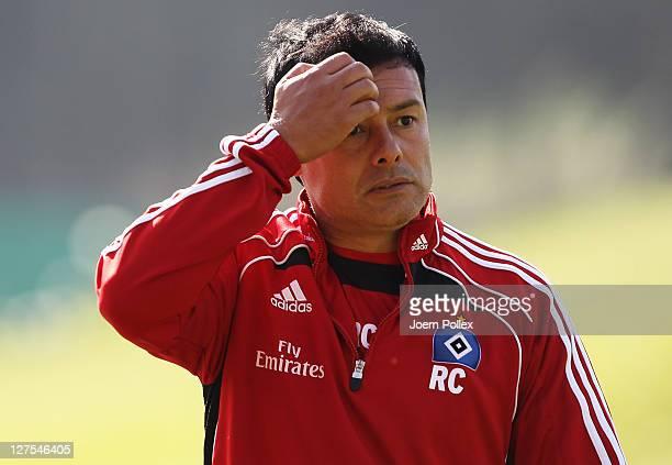 Interim head coach Rodolfo Cardoso of Hamburg gestures during a Hamburger SV training session on on September 29 2011 in Hamburg Germany