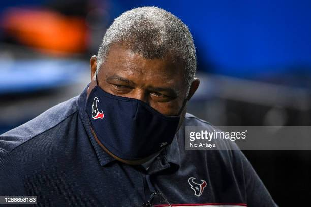Interim head coach Romeo Crennel of the Houston Texans walks off the field after the game against the Detroit Lions at Ford Field on November 26,...