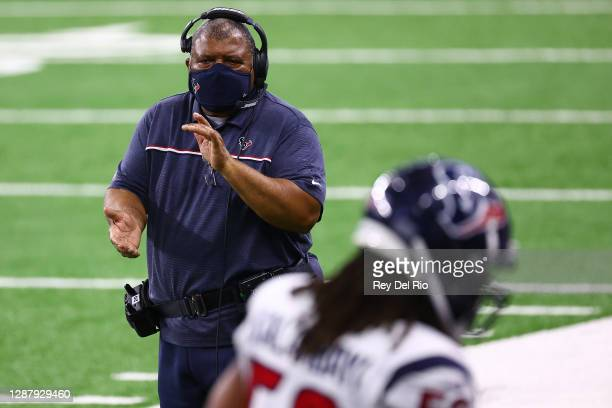 Interim head coach Romeo Crennel of the Houston Texans watches action during a game against the Detroit Lions at Ford Field on November 26, 2020 in...