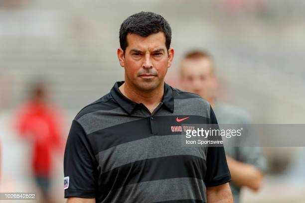 Interim head coach Ryan Day of the Ohio State Buckeyes looks on during warmups before a game between the Oregon State Beavers and the Ohio State...