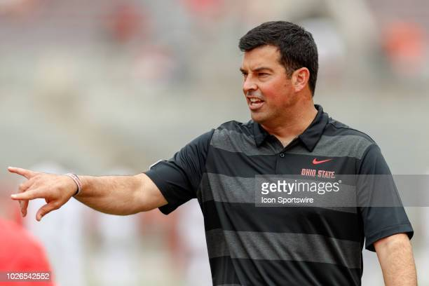 Interim head coach Ryan Day of the Ohio State Buckeyes reacts during warmups before a game between the Oregon State Beavers and the Ohio State...