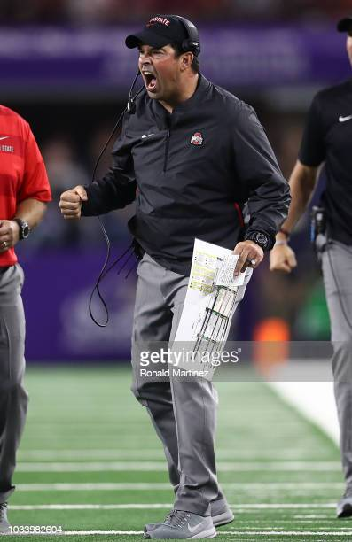 Interim head coach Ryan Day of the Ohio State Buckeyes reacts during The AdvoCare Showdown against the TCU Horned Frogs at ATT Stadium on September...