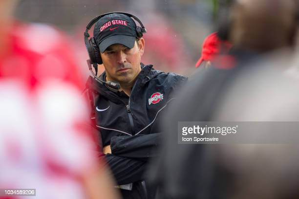 Interim head coach Ryan Day of the Ohio State Buckeyes thinks on the sidelines in a game between the Ohio State Buckeyes and the Rutgers Scarlet...