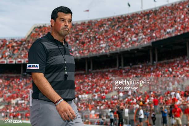 Interim head coach Ryan Day of the Ohio State Buckeyes walks off the field before a game between the Oregon State Beavers and the Ohio State Buckeyes...