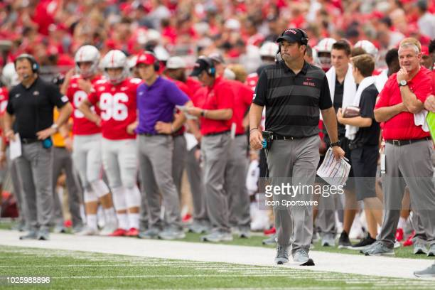 Interim head coach Ryan Day watches game play in a game between the Oregon State Beavers and the Ohio State Buckeyes on September 01 2018 at Ohio...