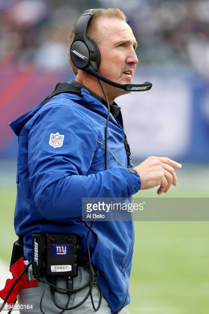 Interim head coach Steve Spagnuolo of the New York Giants looks on against the Philadelphia Eagles during the first half in the game at MetLife...