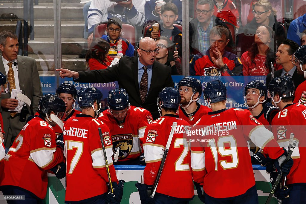 Interim head coach Tom Rowe of the Florida Panthers xdirects the players during a time out against the Toronto Maple Leafs in the third period at the BB&T Center on December 28, 2016 in Sunrise, Florida. The MapleLeafs defeated the Panthers 3-2 in a shoot out.