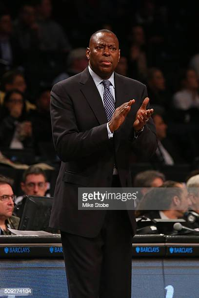 Interim Head Coach Tony Brown of the Brooklyn Nets looks on against the Denver Nuggets at the Barclays Center on February 8 2016 in Brooklyn borough...