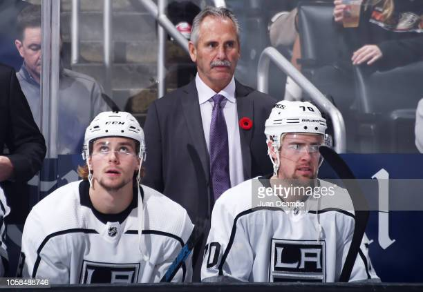 Interim head coach Willie Desjardins of the Los Angeles Kings looks on before his first game as interim head coach in the game against the Anaheim...