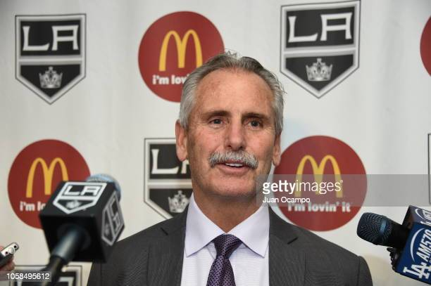 Interim head coach Willie Desjardins of the Los Angeles Kings speaks to the media after his first game as head coach a 41 win over the Anaheim Ducks...